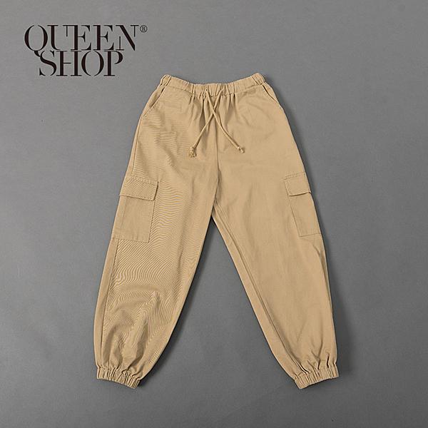 Queen Shop【04101427】素面雙口袋縮口工作褲 三色售 1/2/3*現+預*