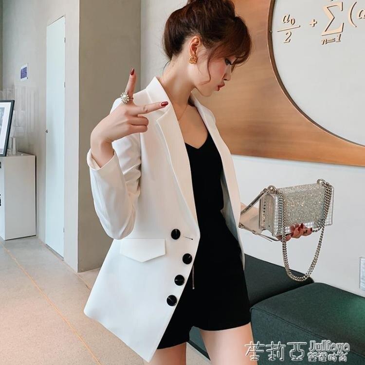 樂天優選~彩黛妃春夏新款韓版修身顯瘦休閒西服女裝純色商務小西裝外套