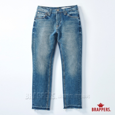 BRAPPERS 女款 新美腳 ROYAL系列-中低腰直向彈力褲口不收邊九分褲-深藍