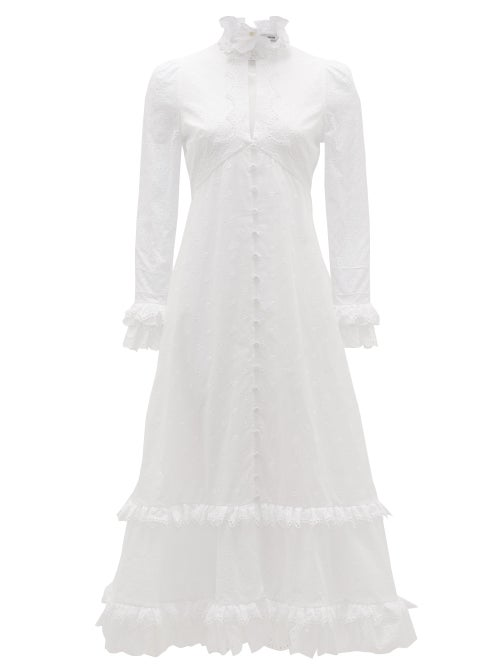 Erdem - Miguella Cotton Broderie-anglaise Midi Dress - Womens - White