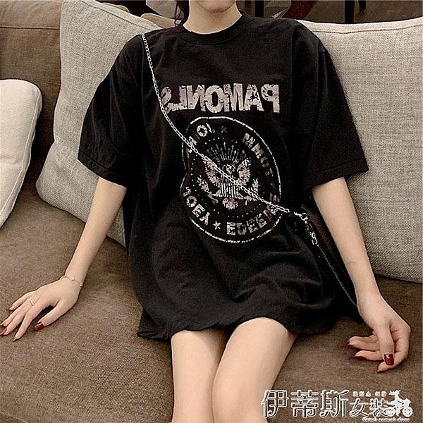春夏新款韓版復古CHIC百搭寬鬆T恤春夏2020短袖中長款打底上衣女 伊蒂斯