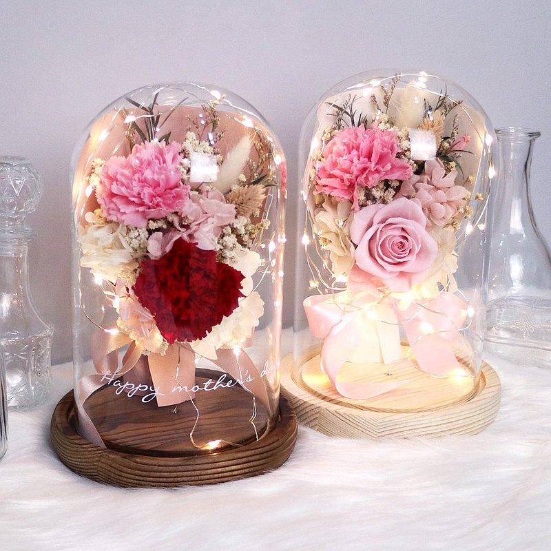 【免運】LED康乃馨小花束永生花玻璃鐘罩【雙色康乃馨】母親節