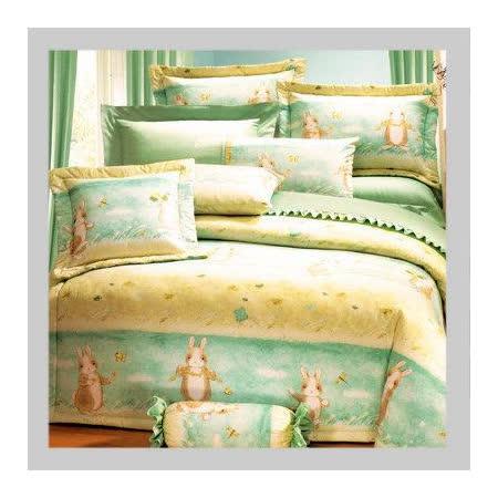名流寢飾 100%精梳棉標準雙人床包組 -田園小兔