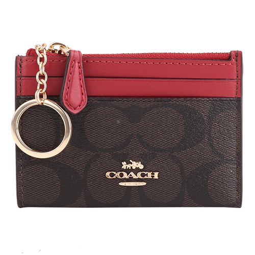 COACH-防刮LOGO皮革卡夾/名片夾/零錢包(深咖x桃紅)