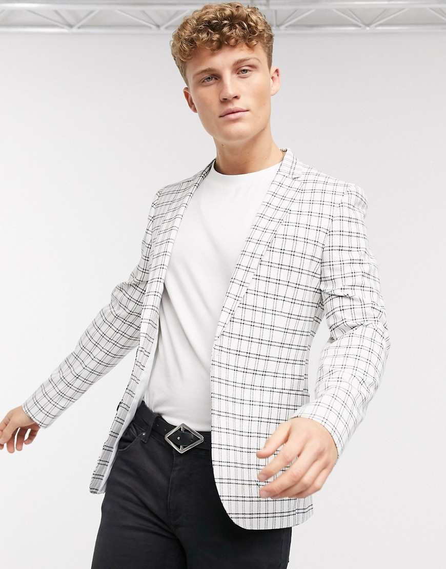 ASOS DESIGN super skinny blazer in navy window pane check