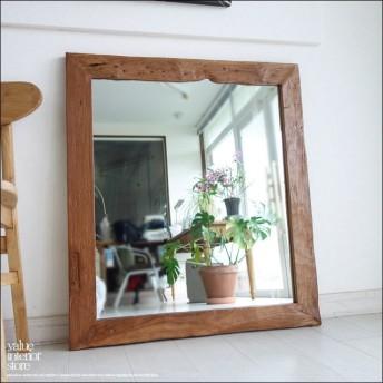 古材 鏡 オールドチークフレームミラー壁掛89h レトロ 大型 古材家具 手作り 総無垢 壁掛け 銘木 天然木 新品 送料無料 幅79cm x 縦89.5cm