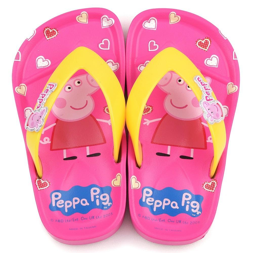 鞋子部落 粉紅豬小妹佩佩豬可愛粉紅造型夾腳拖 中童 pg0004 粉