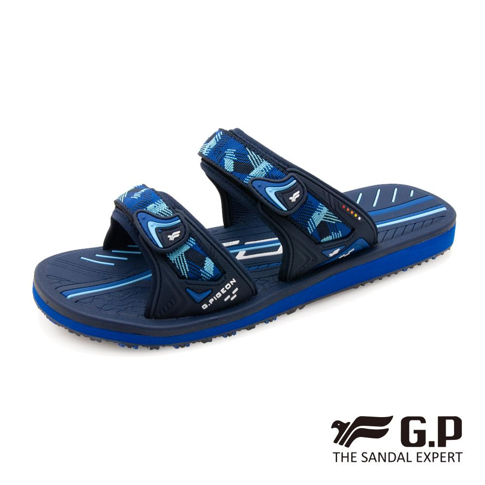 G.P (男) 簡約織帶風格雙帶拖鞋-藍 (另有黑)