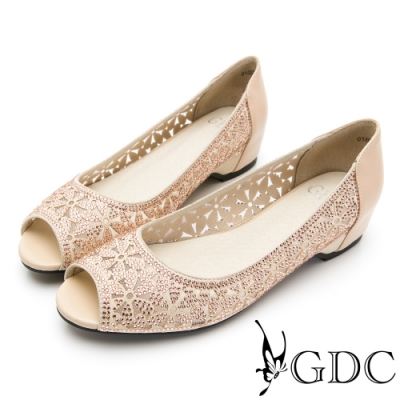 GDC-真皮宴會碎花水鑽簍空低跟魚口鞋-卡其色