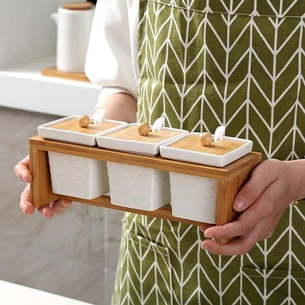 調味罐 廚房用品陶瓷調味罐三件套調料盒 萬寶屋