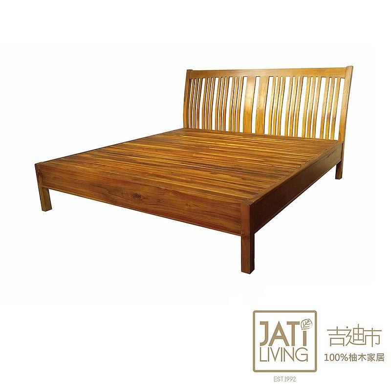 吉迪市柚木家具│全柚木雙人加大床架組 弧面 6.2尺  ETBE005QJS1