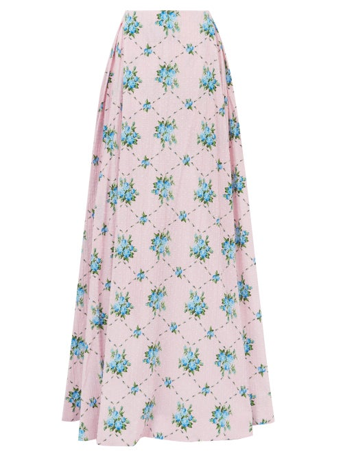 Emilia Wickstead - Constancia Rose-print Cotton-bibiano Maxi Skirt - Womens - Pink Multi