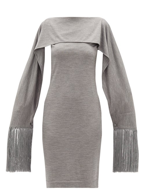 Burberry - Fringed-cuff Merino-wool Dress - Womens - Grey