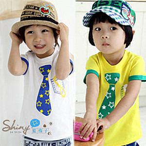 【R4250】shiny藍格子-嬰幼館. 可愛男童領帶印花星星短袖T恤