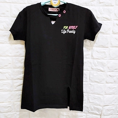 棒棒糖童裝(B101043)夏女大童黑色背面印花開邊長袖上衣 120-165