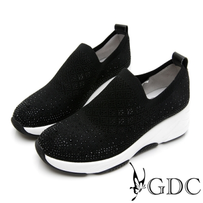 GDC-飛織水鑽經典素色厚底休閒鞋-黑色