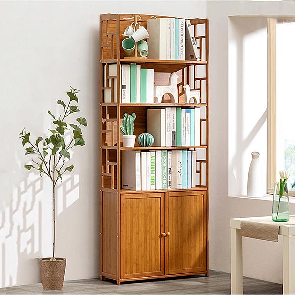 楠楠竹六層70cm帶門書櫃 有背板 組合書櫃【YV9894】快樂生活網
