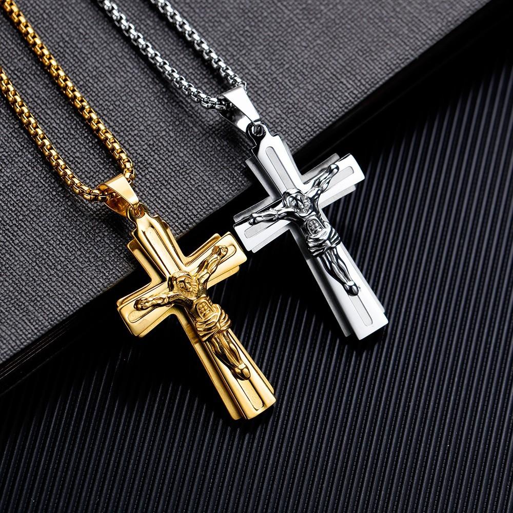 耶穌十字架白鋼項鍊-aks1490