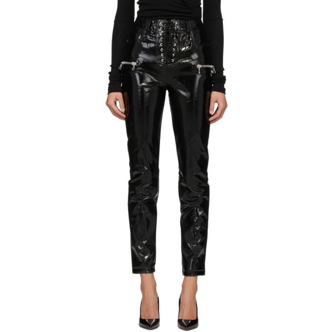 Unravel 黑色 PVC 系带长裤