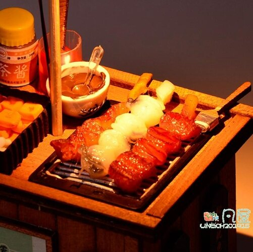diy小屋 中式兒童手工製作木質食玩場景車仔檔配件拼裝玩具藝術屋 618年中鉅惠