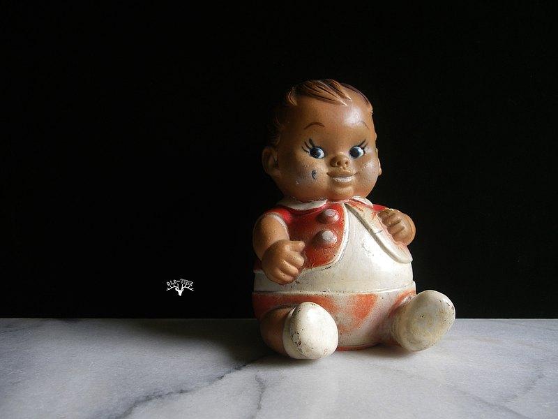 【老時光 OLD-TIME】早期落款1968年台灣製稀有胖娃軟膠玩具