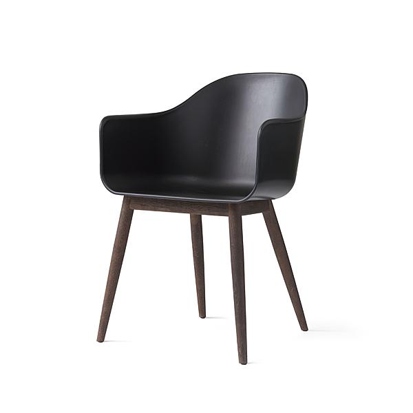 丹麥 Menu Harbour Chair on Wooden Base 賀伯系列 木質椅腳 扶手椅(黑色椅身 - 深色橡木椅腳)