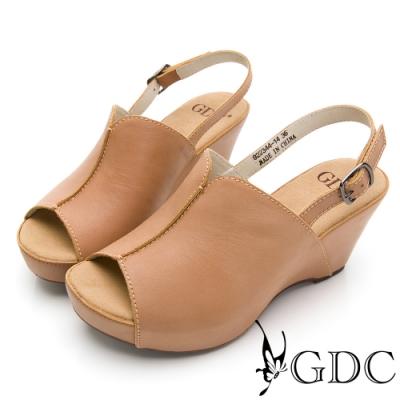 GDC-真皮磨砂素色基本摩登開衩舒適楔型後帶厚底涼鞋-卡其色