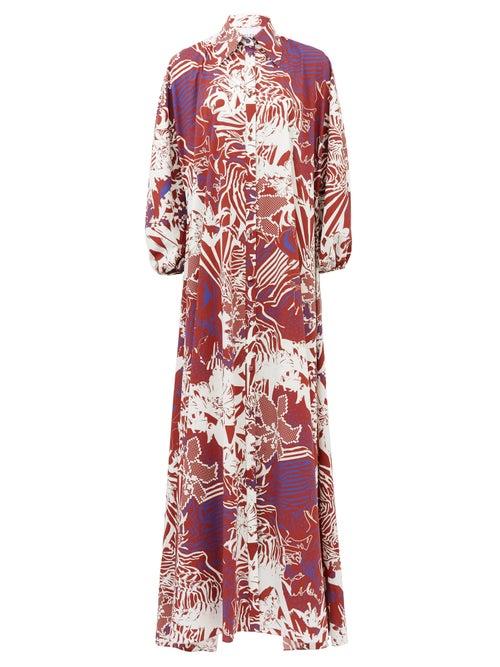 Halpern - Abstract-print Cotton-poplin Maxi Shirt Dress - Womens - White Print