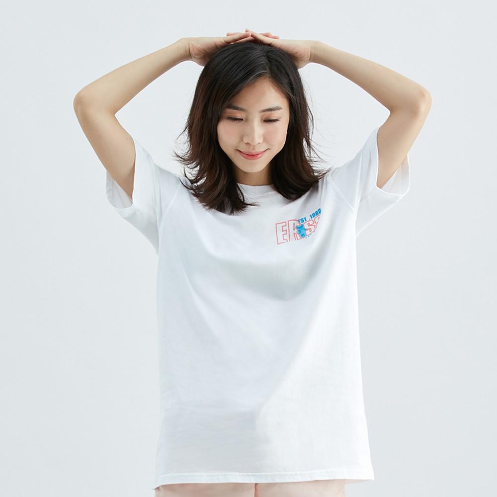 【ERSS】長版開衩熊熊圓領印花純棉T恤 - 女 白色 K70167