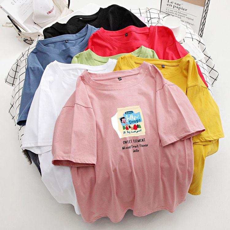 [免運] M-4XL情侶裝 韓系chic簡約休閒短袖T恤 學院風寬鬆T恤 糖果色 顯瘦上衣 卡通印花T恤 班服潮夏裝新款