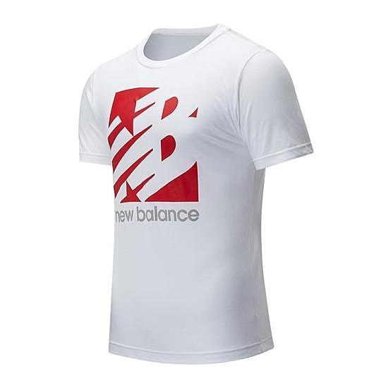 New Balance 男款白色大LOGO短袖上衣-NO.MT01906WT