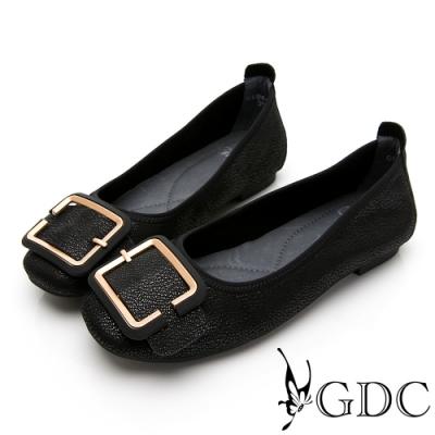 GDC-真皮素雅基本金釦平底包鞋-黑色