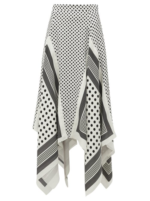 Altuzarra - Boom Godet-hem Polka-dot Silk-satin Midi Skirt - Womens - White Black