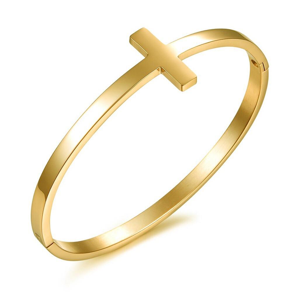 環繞十字架金色白鋼手環-cks643
