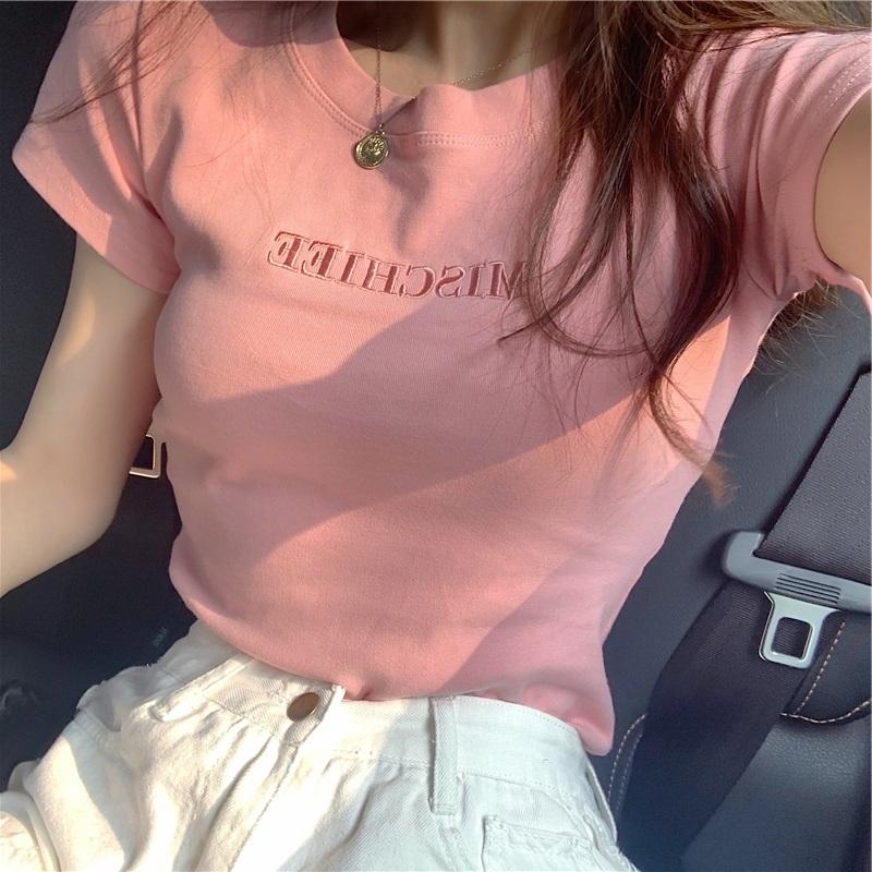 短袖T恤 印花性感緊身顯瘦字母寬鬆百搭休閒短袖 網紅緊身小心機上衣女性感時尚夏季洋氣