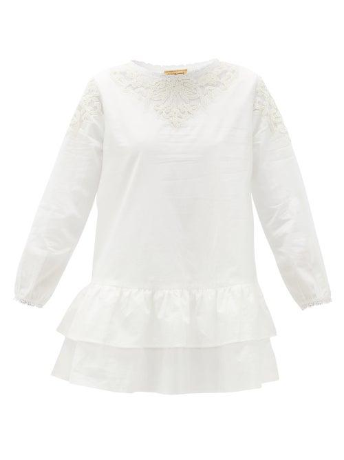 Muzungu Sisters - Dana Ruffled Organic-cotton Blouse - Womens - White