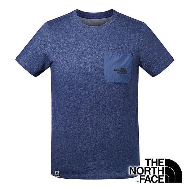 【THE NORTH FACE 美國】男 短袖圓領排汗T恤『麻花淺藍』NF0A3V3T 戶外 登山 時尚 休閒