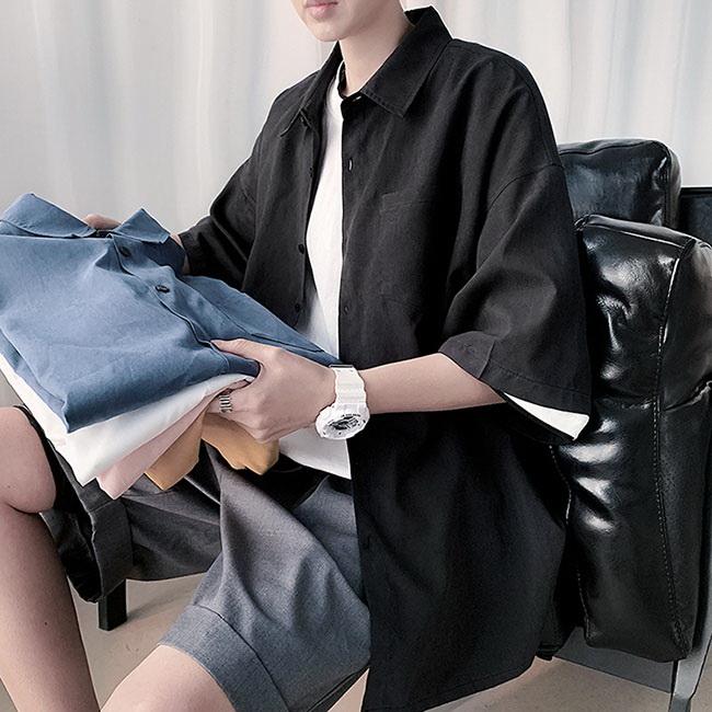 FOFU-短袖襯衫韓版百搭港風寬鬆舒適短袖襯衫【08B-C0158】