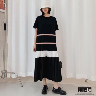 JILLI-KO 風琴摺雪紡拼接連衣裙- 黑色