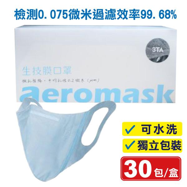 (現貨) 3ta 三達w型納米生技膜口罩(藍) 30入/盒 (可水洗 獨立包裝) 專品藥局