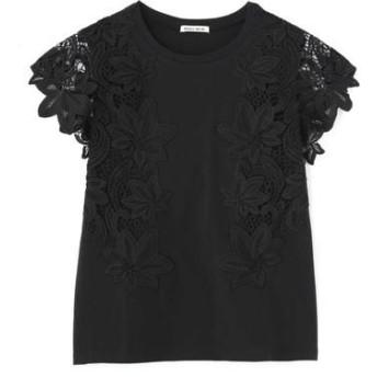 ROSE BUD/ローズ バッド レーススリーブTシャツ ブラック -