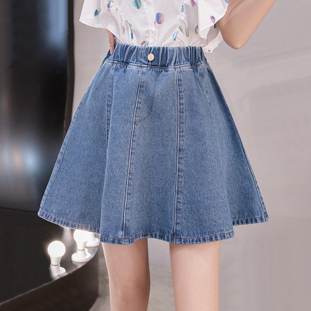 大碼高腰寬鬆牛仔裙短裙(圖片色S~5XL)*ORead*