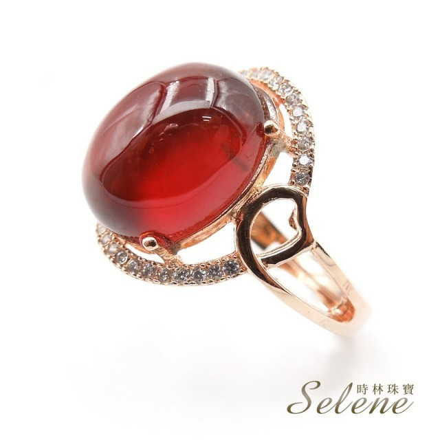 selene典雅橙石榴戒指(是幸運和愛情的保護石)
