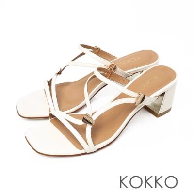 KOKKO方頭線條鏡面粗跟細帶涼鞋質感米