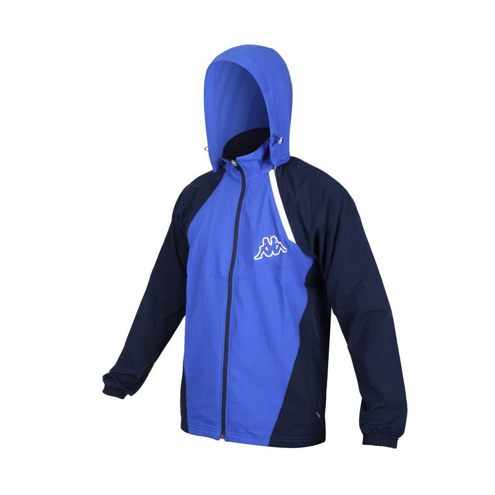 KAPPA 男單層外套-連帽外套 防潑水 抗UV 防風 風衣 運動 慢跑 路跑 藍丈青白