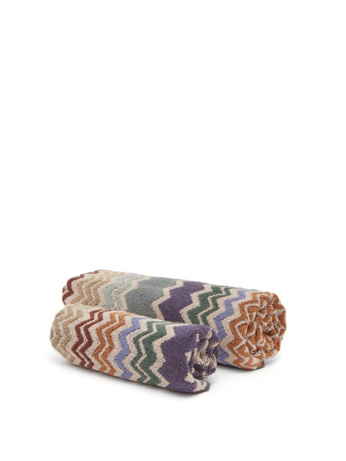 Missoni Home - Set Of Two Rex Zigzag Cotton-terry Towels - Brown Multi