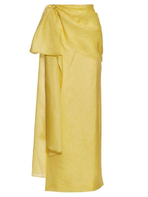 Rosie Assoulin - Hustle And Bustle Floral-jacquard Silk-blend Skirt - Womens - Yellow