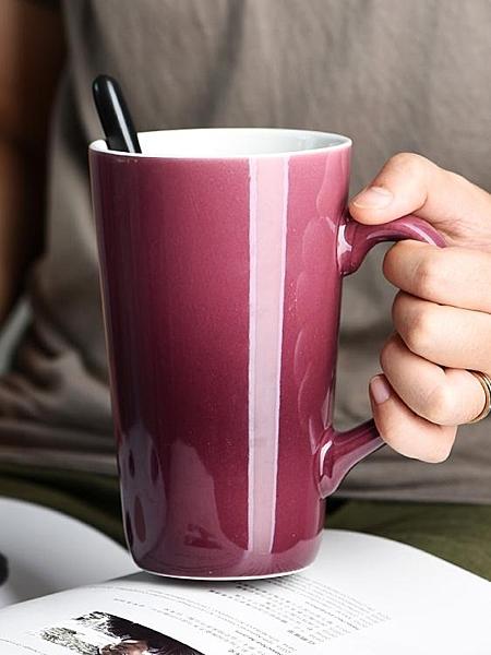 簡約水杯陶瓷帶蓋勺創意個性潮流馬克杯家用大容量咖啡杯 印巷家居