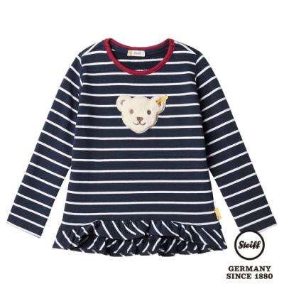 STEIFF德國精品童裝  熊熊滾邊條紋長袖T袖衫