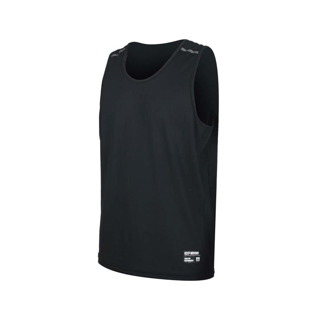 FIRESTAR 男彈性訓練籃球背心-反光 無袖 吸濕排汗 運動上衣 黑
